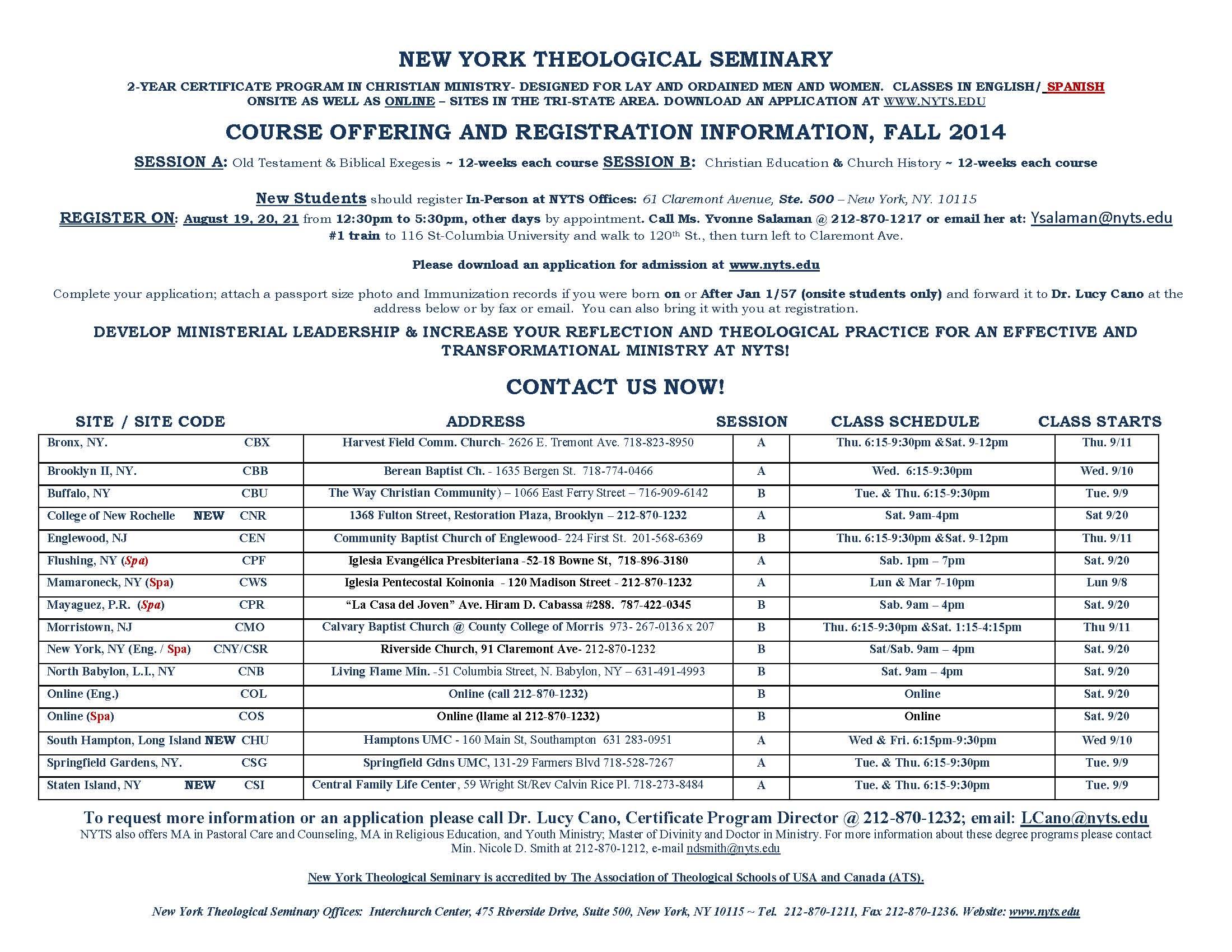 Fall 2014 CP Registration Info