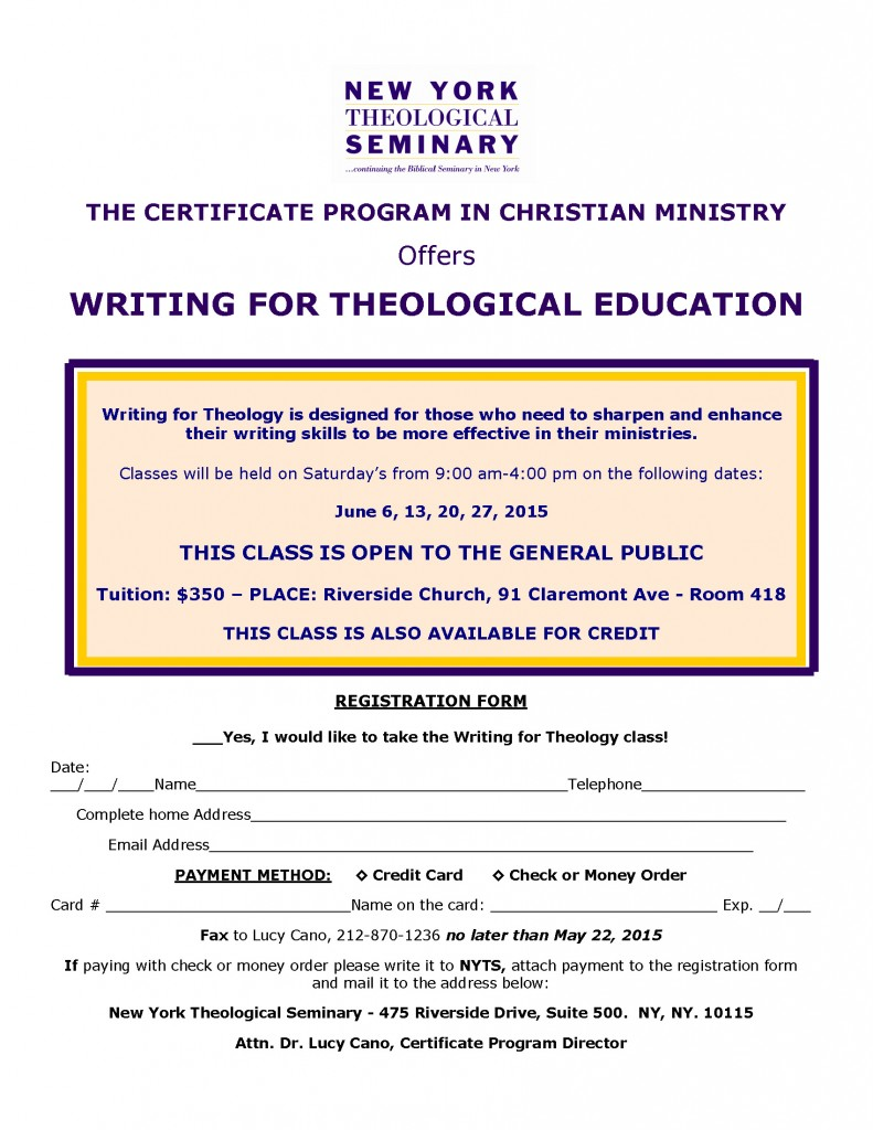 WRITING FOR THEOLOGY June 2015