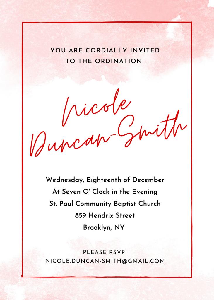NDS Ordination Invitation